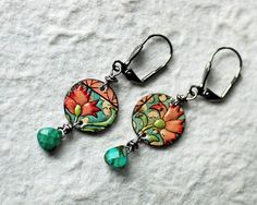 Vintage Tin Earrings Flowers Turquoise and Pink by Entwyne Designs