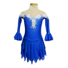 Dumb+Light+Spandex+Elasticated+Net+Lace+Flowers+Strapless+Figure+Skating+Clothing+Royal+Blue+–+CAD+$+125.09