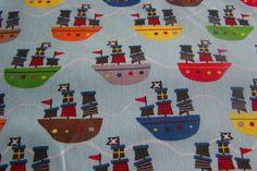 Meterware Riley Blake Treasure Map Piratenschiffe Piraten Boote Baumwollstoff