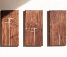 POWER POLE WALNUT TRYPTYCH by Dave Marcoullier