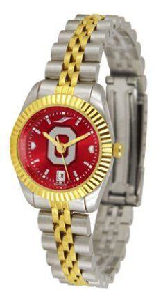 """Ohio State Buckeyes """"O"""" Ladies Executive AnoChrome Watch by SunTime. $154.10. The ultimate Ohio State Buckeyes """"O"""" fan's statement, our Executive timepiece offers men and women a classic, business-appropriate look. Features a 23KT gold-plated bezel, stainless steel case and date function. Secures to your wrist with a two-tone solid stainless steel band complete with safety clasp.The AnoChrome dial option increases the visual impact of any watch with a stunning radial reflection s..."""