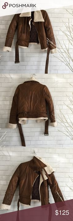 🎆 Aviator / Bomber Jacket Faux leather aviator jacket is just amazing. Super soft outside faux leather, just like Sheep skin, you would never know the difference, and the inside Faux wool just Amazing. Size S will be more fitted on a size 6-8 and bigger on a size 4. retail average $208 + tax. Ⓜ️ chest 38 Ⓜ️Length 22 Ⓜ️sleeves 25 ✅Bundle and save ✅🚭 ✅ all reasonable offers will be considered 🚫No Trading 🙅🏻 Poshmark rules only‼️ Mol-V Jackets & Coats