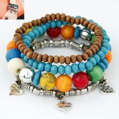 Metal Heart Decorated Multilayer Ethnic Beads
