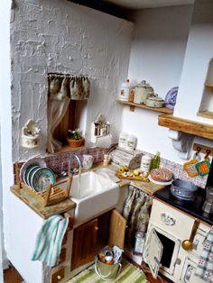 Miniatura Dollhouse cucina RoomBox vecchio stile di Minicler ...