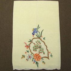 Vintage Embroidered Linen and Organdy Towel