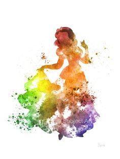 Snow White ART PRINT illustration, Disney, Princess, Mixed Media, Home Decor, Nursery, Kid