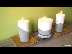 Once your cement has set, melt enough wax using the double boiler method to fill your candle molds. Concrete Candle Holders, Diy Candle Holders, Candle Molds, Diy Candles, Scented Candles, Pillar Candles, Concrete Crafts, Candlemaking, Easy Diy Crafts