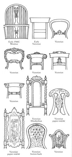 Diagram Of British Chair Backs Early 19th Century To Victorian.