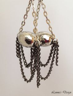 Free Shipping within USA Silver Teardrop Earrings with gun metal chains by LanniesDesign