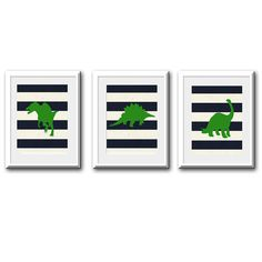 Nursery Wall Decor-Kids Room Art Prints-Dinosaur Prints Navy, White and Green, Set of 3 for Boys Room, Playroom, or Nursery 8x10 via Etsy Ideas for Gavins room