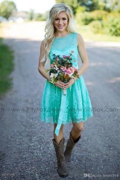 Unique Cheap Turquoise Filly Flair Bridesmaids Dresses Country Jewel Backless Ribbon Lace Short Bridesmaid Formal Dress Wedding Party Gowns Plus Size As Low As