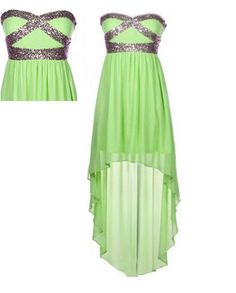 Fashion Green Lace Sequin High-Low Prom Dress,Homecoming Dress,Blue Dress,formal dress