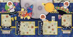 Blast Off Boy 2 Premade Scrapbook Pages Paper Piecing Layout 4 Album Cherry | eBay