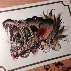 Done by Heath Clifford. Kunst Tattoos, Skull Tattoos, Body Art Tattoos, Sleeve Tattoos, Alligator Tattoo, Flash Art Tattoos, Tattoo Sketches, Tattoo Drawings, Louisiana Tattoo
