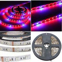 SOLMORE 5M Ruban LED de Croissance pour Plantes 5050 SMD 60 LED/Mètre (4Rouge + 1Bleue Lumière) Ampoule de Culture Lampe Eéclairage de…