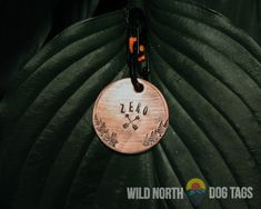 Perfect for the adventure dog or cat in your life. Fully customizable and available in copper, gold or aluminum and in several shapes like circle tags, hexagon tags, dog tags and hanging bar tags. Wild North, Dog Tags Pet, Walk In The Woods, Dog Tag Necklace, Personalized Items, Pets, Copper, Accessories, Brass