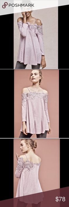 Anthropologie lavender pink Lace Off The Shoulder Anthropologie Meadow Rue lavender pink Lace Off The Shoulder Swing Top cotton jersey swing with lace border off the shoulder  pullover style with thin straps New With Tags  *    cotton * poly lace trim Anthropologie Tops