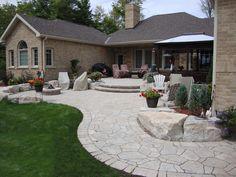 Permacon Mega-Arbel Pavers Backyard Patio Designs, Patio Ideas, Backyard Ideas, Stone Retaining Wall, Front Walkway, Paving Stones, Flagstone, Garden Inspiration, Garden Landscaping