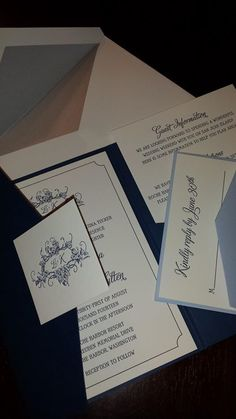 blue pocketfold invitation from Chic Ink