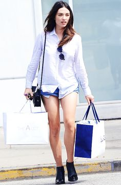 Crystal Reed shops in Beverly Hills on July 6, 2015, Los Angeles
