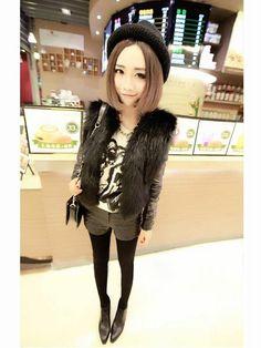 Imitation Fur PU Leather Splicing Coat