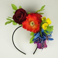 detail of rainbow wildflower hair floral crown
