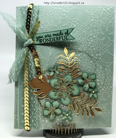 Linda Vich Creates: Stampin' Royalty and Botanicals. Stampin' Up! Botanical Gardens Vellum graces the front of this Mint Macaron card, embellished with die cut flowers and gold details. Hand Made Greeting Cards, Making Greeting Cards, Greeting Cards Handmade, Envelopes, Theme Noel, Stamping Up Cards, Paper Cards, Flower Cards, Scrapbook Cards