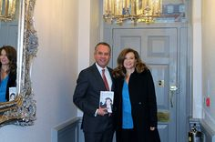 #ValérieTrierweiler having a picture with the General Manager at Flemings Mayfair Hotel Suites and Apartments whilst she was in London for her new book release signing.