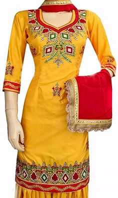 Attract everyone with your stunning look when you adorn this Elegant Yellow & Red Mirror Worked Punjabi Suit. Embellished with heavy embroidery work & mirror work on Top. Available with matching bottom & dupatta. For more details whatsapp us: Designer Suits Online, Designer Punjabi Suits, Indian Designer Wear, Indian Suits, Indian Wear, Yellow Punjabi Suit, Indiana, Red Color Combinations, Embroidery Suits Design