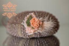 Rustic Moss N Peach Baby Headoptional wrap by greenearthstudio