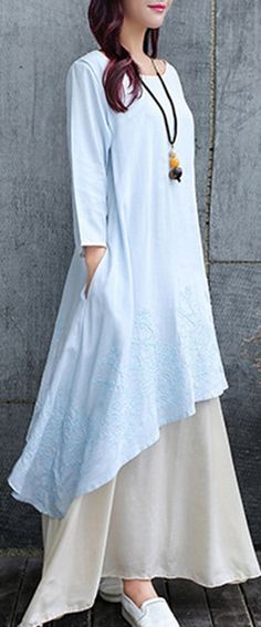 US$ 29.98 O-NEWE Vintage Women Embroidery Fake Two-Piece Long Maxi Dress