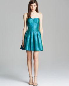 AQUA Dress - Strapless Metallic Snakeskin Jacquard Fit and Flare | Bloomingdales's