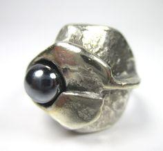 OLY Designer Ring 835 Silber Hämatit Vintage 70er Modernist Boho silver gN3