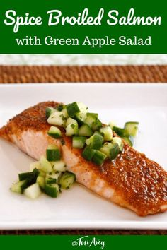Spice Broiled Salmon with Green Apple Salad - Recipe for broiled salmon with a sweet, golden spice crust topped with a crisp salad made with apples, cucumber and honey. | ToriAvey.com #RoshHashanah #sweetnewyear #highholidays #Sukkot #salmon #broiledsalmon #greenapple #applesalad #appleslaw #cucumber #honey #pareve #dairyfree #TorisKitchen Sukkot Recipes, Entree Recipes, Lunch Recipes, Dinner Recipes, Best Seafood Recipes, Healthiest Seafood, Fish Recipes, Gluten Free Kosher Recipes, Kosher Dinners