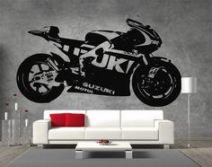 Moto GP Suzuki Motorbike Vinyl Sticker Wall Art Boys Bedroom Garage Play Room