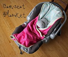 Tutorial for a car seat blanket. So handy- there are slits for the car seat straps to fit through!