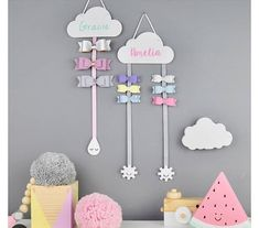 Hair Bow Hanger White with colour name - Hair Bow Holder - Personalised - Hair Clips - Cloud - Hair Accessory Storage - Clips - Sleepy EyesAre you interested in our Hair Bow holder? With our Hair Bow hanger you need look no further.Today is a BIG day Girl Room, Girls Bedroom, Bedroom Decor, Wall Decor, Hair Bow Hanger, Hair Accessories Storage, Wedding Accessories, Girls Room Accessories, Happy Sunshine