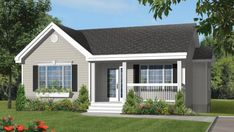 Your dream modular home, the Courtoise model will exceed your expectations. Find your high quality modular homes, contact our Pro-Fab Experts. Bungalow House Design, Small House Design, Modern House Design, Country House Plans, Small House Plans, Little Big House, House Viewing, Cottage Plan, Modular Homes