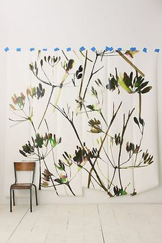 Walls, Windows & Floors: Brushstroke Branches Mural at Anthropologie - Remodelista Watercolor Wallpaper, Watercolor Leaves, Focal Wall, Mural Wall Art, Do It Yourself Crafts, Garden Shop, Illustrations, Brush Strokes, Decoration