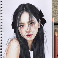 Kpop Drawings, Art Drawings Sketches Simple, Pencil Art Drawings, Beautiful Drawings, Colorful Drawings, Girl Face Drawing, Art Painting Gallery, Celebrity Drawings, Korean Art