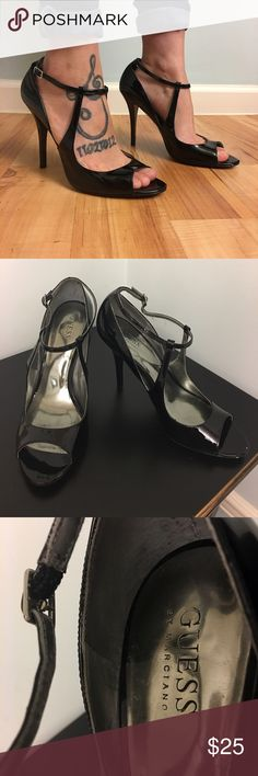 Guess by Marciano Gwnaga patent black leather heel Guess by Marciano Gwnaga patent black leather heels  Lightly worn➡️➡️closet clean out⬅️⬅️ Guess by Marciano Shoes Heels