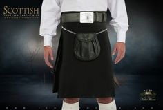 Plain Black Tartan Kilt 253427 | (Kilt Only - Accessories Sold Separately)