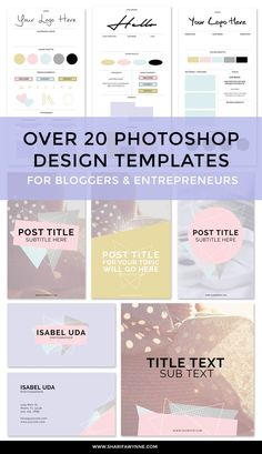 This Branding Kit has over 20 Photoshop design templates, perfect for bloggers and entrepreneurs looking to save time on design graphics for their website.  Includes Pinterest Templates | Mood Board Templates | Brand Board Templates | Business Card Designs | Instagram Post Templates | Facebook & Twitter Headers.