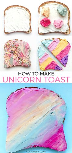 How to Make Unicorn Toast, I would use cream cheese on beagles. Nice birthday breakfast.