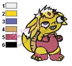Funny Agumon Digimon Embroidery Design