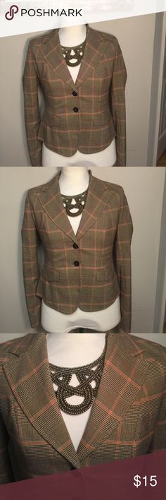MICHEAL KORS BROWN & ORANGE PLAID BLAZER SIZE 6 MICHEAL KORS BROWN & ORANGE PLAID BLAZER SIZE 6. Measurements for this garment: chest 18.5/ waist 16.5. This is a great blazer to add to your fall collection. The blazer has two buttons on the front and a button on the back of sleeves. If you like be sure to make an offer! Michael Kors Jackets & Coats Blazers