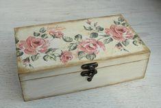Wooden box. Jewelry box. Wooden storage. Rose. Decoupage. Shabby chic style. Treasury box. Jewellery box.