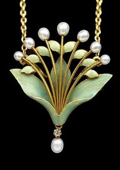 Andre Rambour (French) Title: Art Nouveau Lily-of-the-Valley Pendant/Brooch, ca. 1900 Medium: Jewelry and Gemstones, Gold, enamel, diamond & pearl