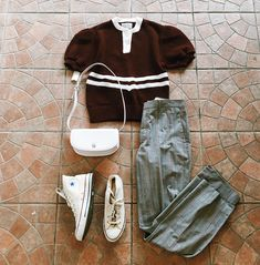 Found at Common Sort - vintage t-sweater, Club Monaco trousers, Converse shoes and Valentino Orlandi bag
