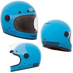 Bell Helmet Bullitt Retro Blue Glossy Medium Full Face Motorcycle Vintage Retro
